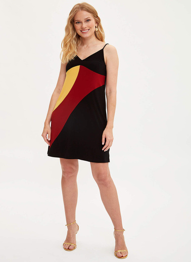 DeFacto Renk Bloklu İnce Askılı Elbise Siyah